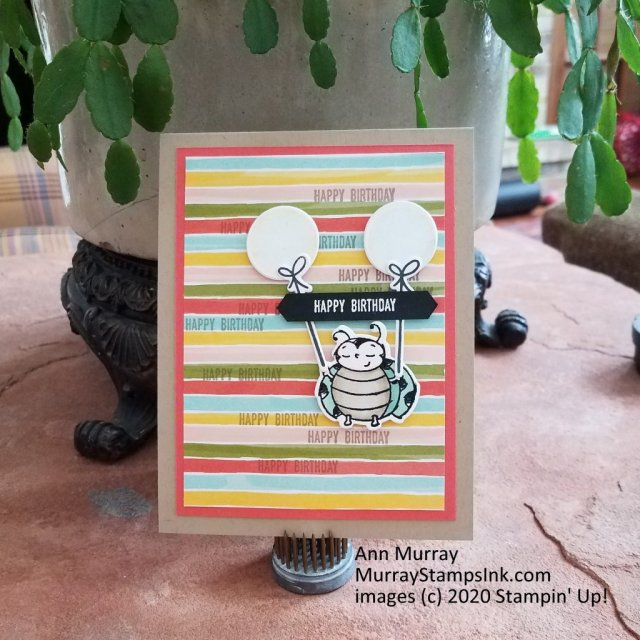 Birthday card with ladybug and balloons