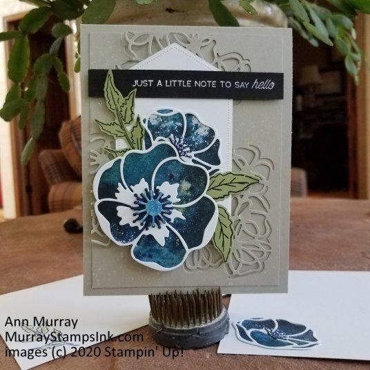 Blue Poppy with black sentiment