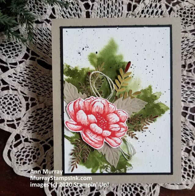 layered card with watercolor background created with a stamp.