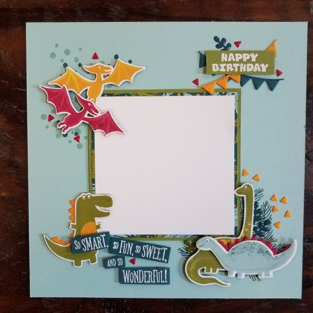 dinosaur birthday scrapbook page