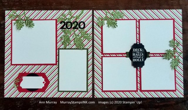 scrapbook pages with pine boughs