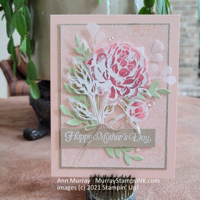 white embossed peony on vellum colored with alcohol markers