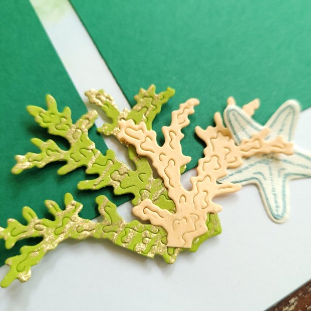die-cut coral with gold leafing