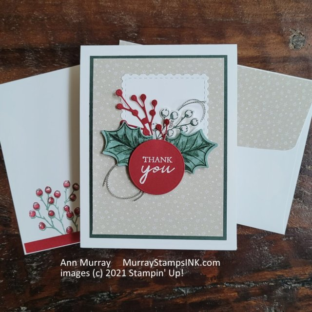 Holiday Thank you note using holly leaves a little silver cording