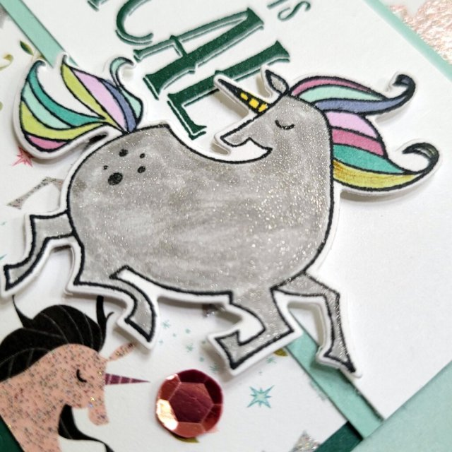 unicorn colored with Stampin' Blends Gray Granite and then sparkled up with Wink of Stella