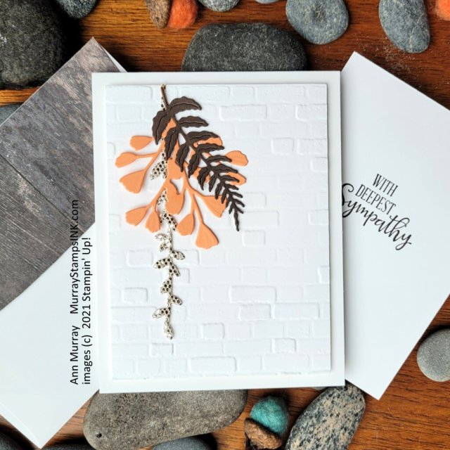 Foliage Cluster on Brick & Mortar embossed background