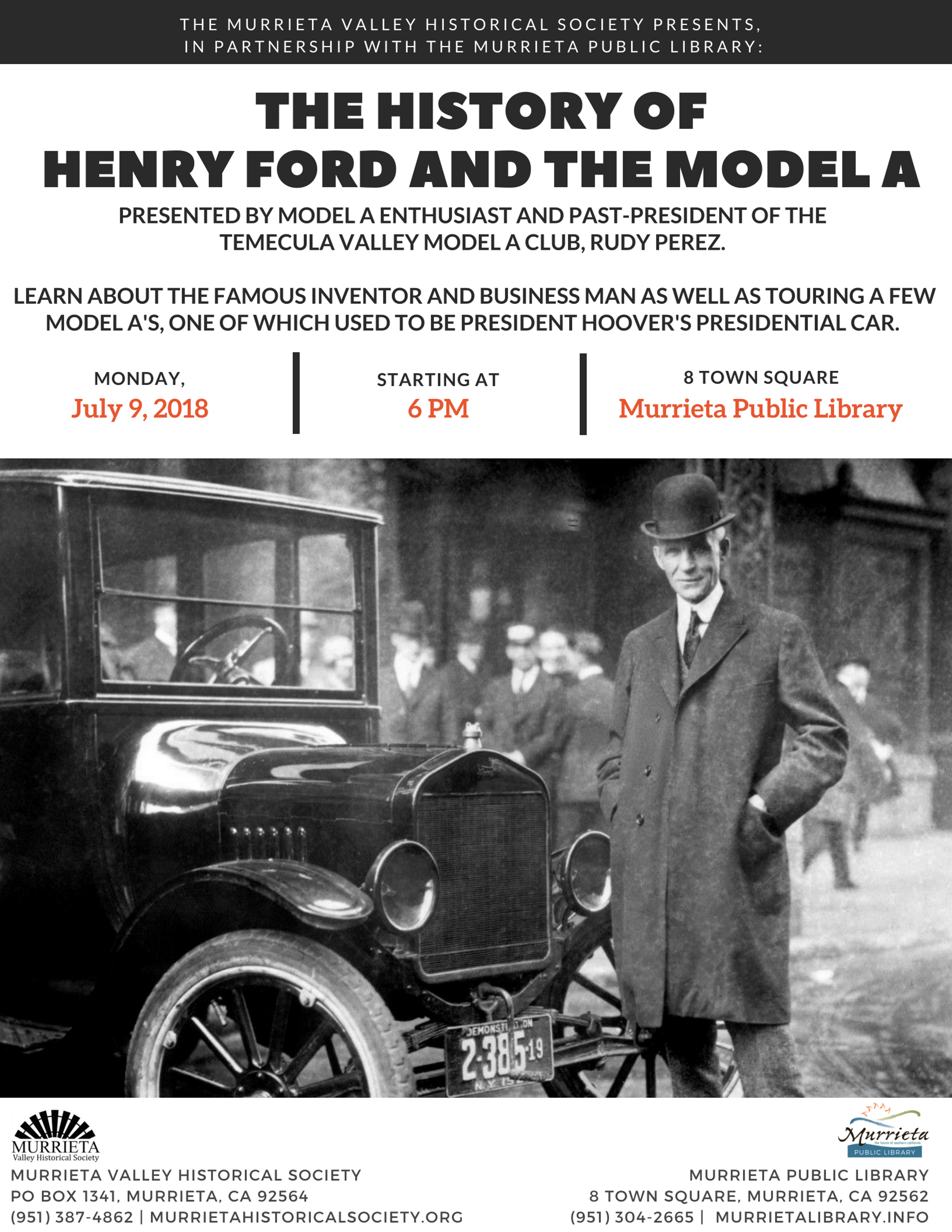 Murrieta History Talk The History Of Henry Ford And The