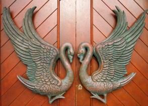 Swan detail of church door