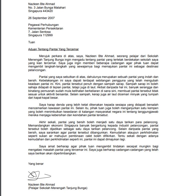 contoh surat rasmi untuk pelajar dan orang awam