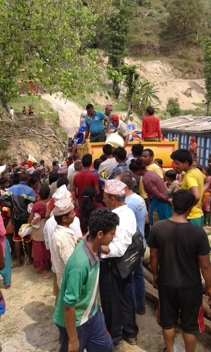 Tsering's Fund delivering food supplies to the villagers in Dhakalkot