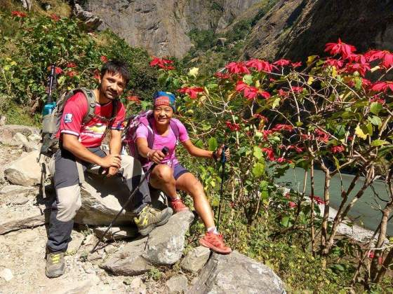 Dr. Subedi with Mira Rai, one of National Geographic's candidates for Adventurer of the Year 2016, as we posted on the Musa Masala Facebook page. We hope you placed your vote for her! Mira recently underwent knee surgery and could not run but still participated in the race.