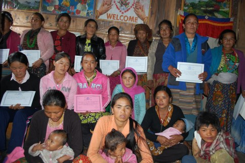 Lura women after receiving literate certificates