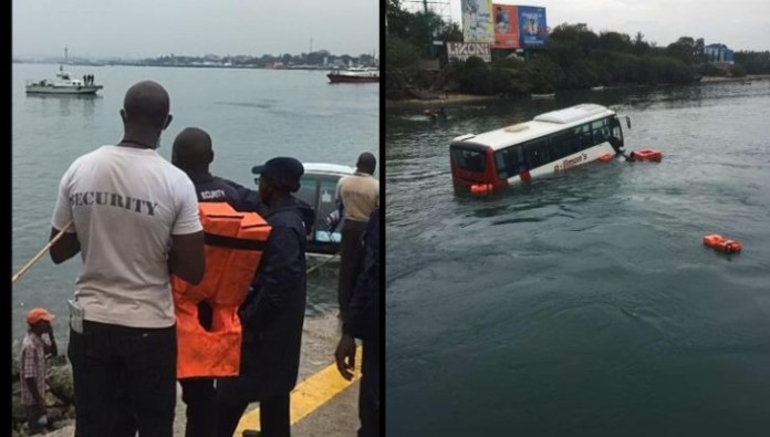 Tourist bus plunges into the Indian Ocean at Likoni Crossing Channel in Kenya (videos)