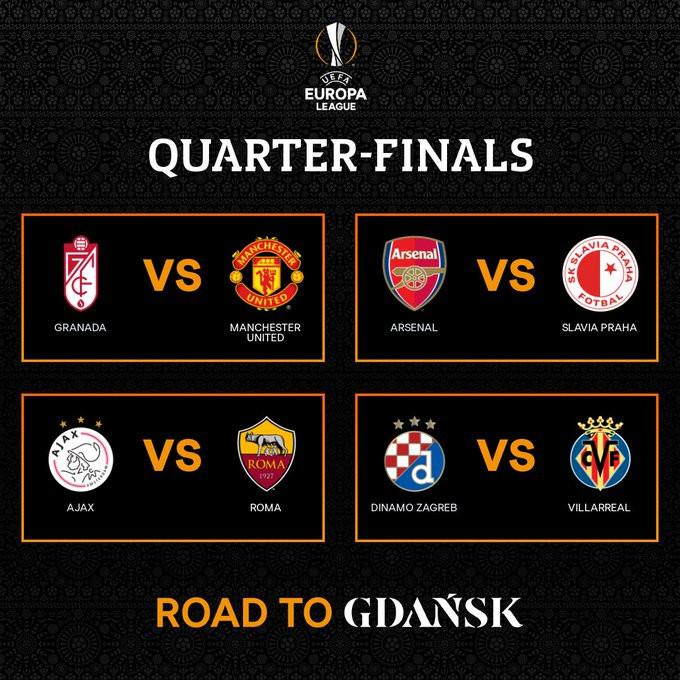 UEFA Europa League Quarter draw revealed:?Arsenal vs Slavia Prague, Granada vs Manchester United