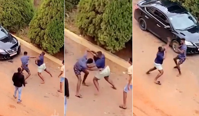 Two KNUST students allegedly fight over a girl (video)
