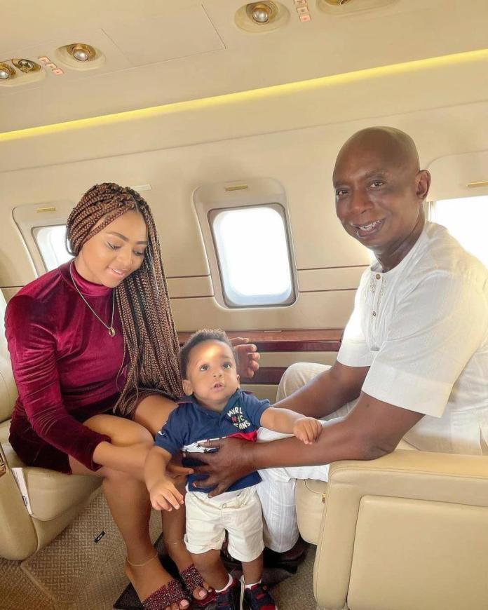 Lovely photos of Regina Daniels, her billionaire hubby, Ned Nwoko and son Munir