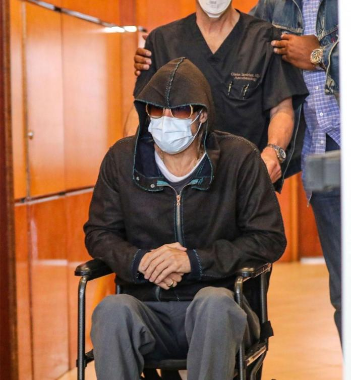 Actor, Brad Pitt leaves medical centre in a wheel chair (photos)