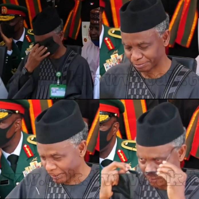 Kaduna state governor, Nasir El-Rufai, weeps at the funeral of the Chief of Staff, Ibrahim Attahiru