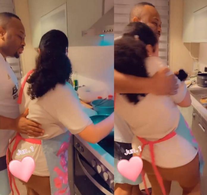 Roseline Meurer shares loved-up video of husband, Olakunle Churchill, cuddling her as she makes dinner