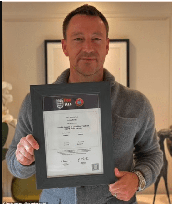 Chelsea legend, John Terry completes his UEFA Pro Licence as he ?takes?big step towards managerial job?