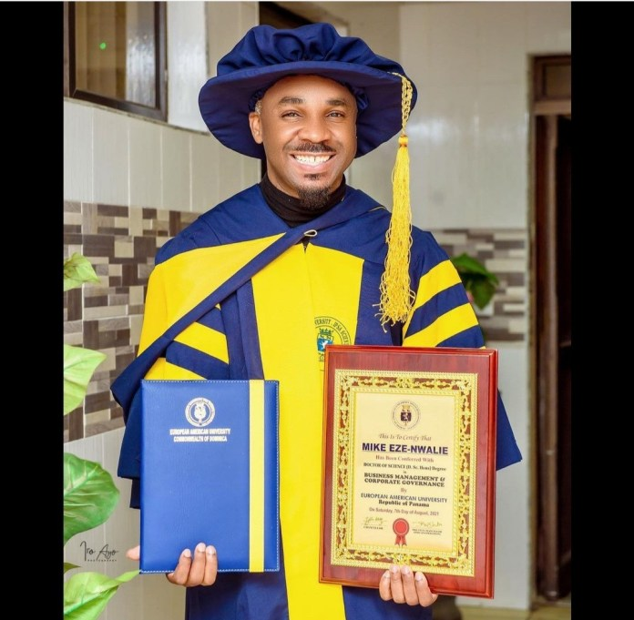 Socialite,  Pretty Mike bags PhD in Business Management