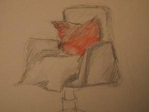 Drehstuhl, Zeichnung Bleitstift + Aquarell