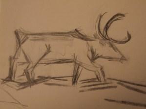 Elch, Zeichnung Kohle