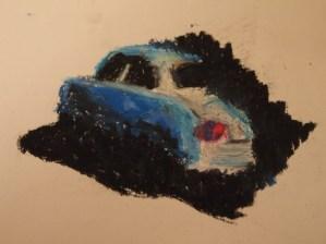 Auto, Zeichnung, Ölkreide