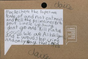 Climate Change Feedback Postcard - Stop Crime