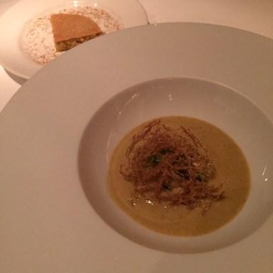 金針菜とコーンのスープ、トルティーヤ