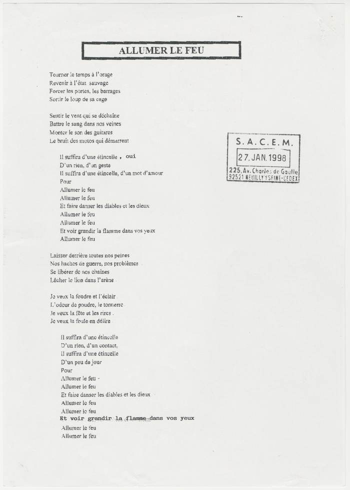 Paroles Allumer Le Feu - Johnny Hallyday