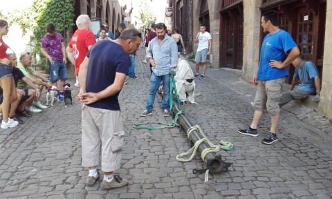 Transport traditionnel tubes chariots métier à broder (pause)