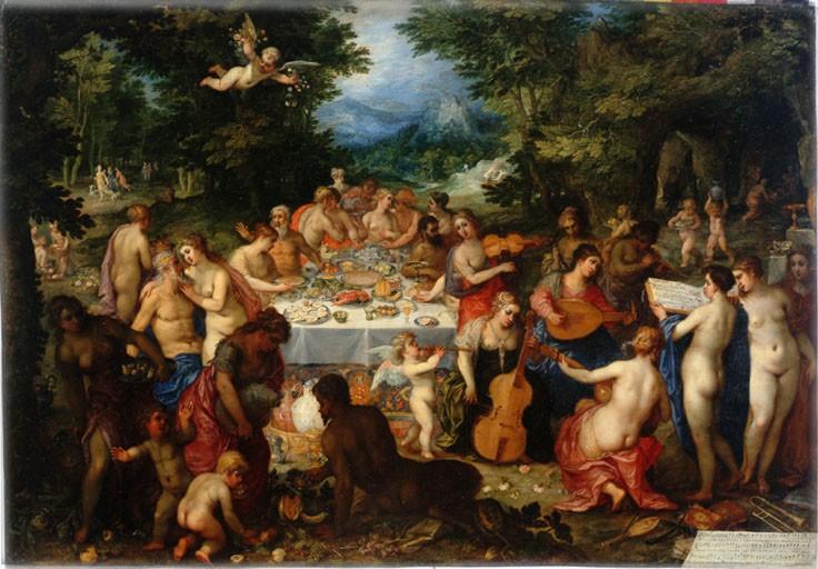 Le Banquet des dieux. Hendrick van Balen et Jan Brueghel de Velours Vers 1606-1610. Huile sur cuivre 47 x 66 cm Angers, collection Eveillard de Livois
