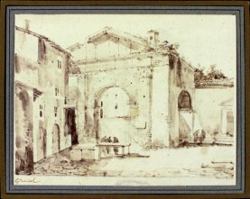 François Marius Granet, Portico d'Ottavia, Acquerello, 1802-1819, Museo di Roma