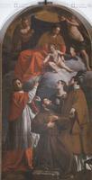 Alessandro Turchi (Verona 1578-Roma 1649), Madonna col bambino e santi, 1620 circa, olio su tela
