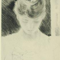 27. Paul César Helleu, Giovane donna che cuce (Mme Hellen), puntasecca, collezione privata, mm 192x150