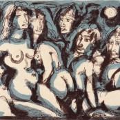 88. Tono Zancanaro, Noi (in generale) le sfacciate donne, litografia, mm257x505, 1967