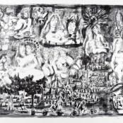 90. Tono Zancanaro, Vari personaggi della Commedia, litografia, mm700x1000, 1973