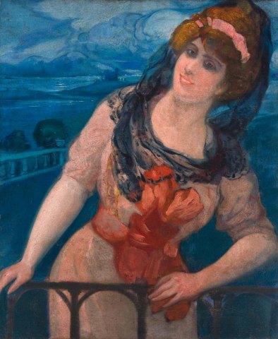 Mujer al balcón. ID 050. Corpus Online Museo Gustavo de Maeztu