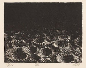 Campo de cráteres cerca de Dontrien iluminado por bengalas 1942