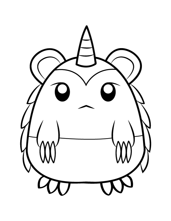 Printable Cute Horned Monster Coloring Page