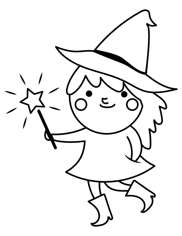 Printable Cute Witch With Wand Coloring Page