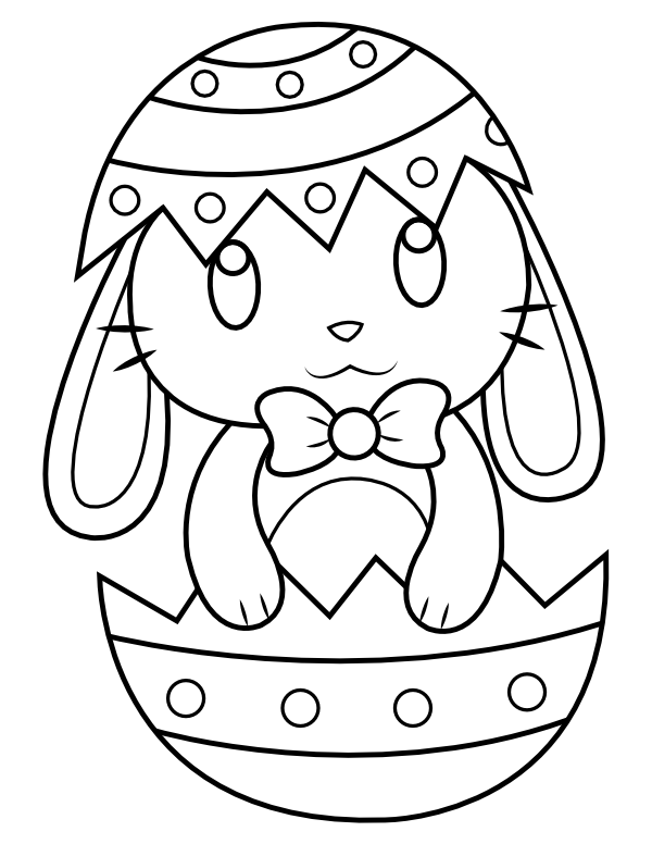 Printable Easter Bunny In Easter Egg Coloring Page