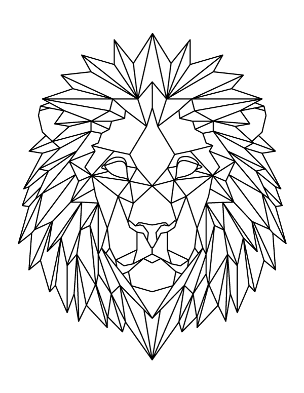 Lion Head Coloring Page : coloring, Printable, Geometric, Coloring