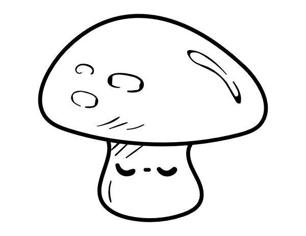 Printable Kawaii Mushroom Coloring Page