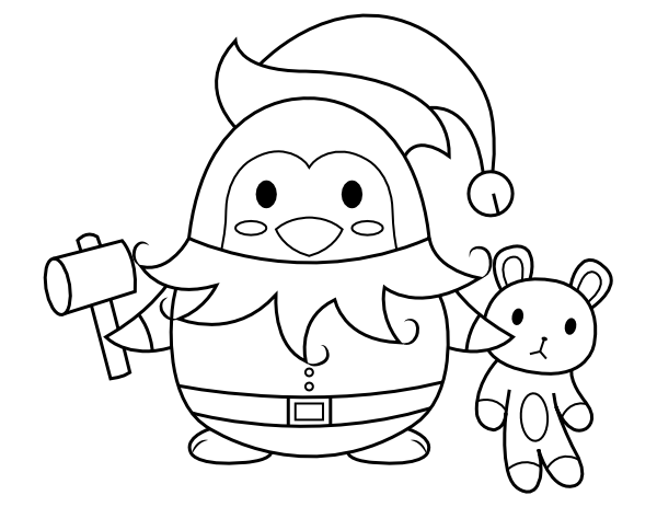 Printable Penguin Elf Coloring Page