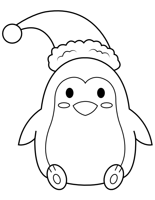 Santa Hat Colouring Page : santa, colouring, Printable, Penguin, Wearing, Santa, Coloring