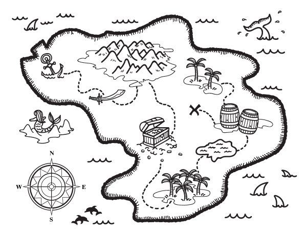 Printable Treasure Map Coloring Page