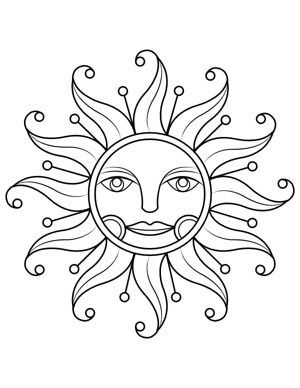 Printable Victorian Sun Coloring Page