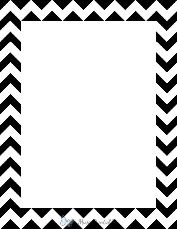 Printable Black And White Chevron Page Border